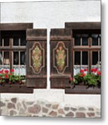 Twin Decorated Windows Metal Print