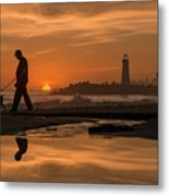 Twin Lakes Sunset Reflected Metal Print