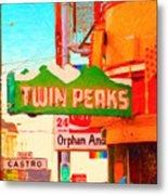 Twin Peaks Gay Bar In San Francisco . Painterly Style Metal Print