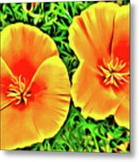 Twin Poppies Metal Print