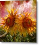 Twin Sunflowers Metal Print