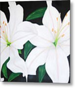 Twin White Lillies Metal Print