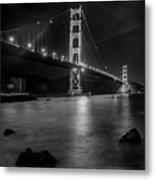 Twinkling Golden Gate Bridge Black And White Metal Print