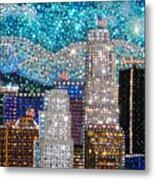 Los Angeles. Rhinestone Mosaic Beadwork Mix Metal Print