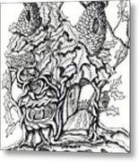 Twisted Willow Fairy House With Oak Leave Roof Metal Print