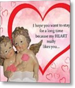 Two Angels And The Heart Metal Print