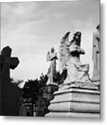Two Angels Joseph, Jesus And A Bold Cross In A Cemetery Metal Print