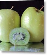 Two Apples And A Kiwi Metal Print
