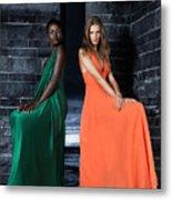 Two Beautiful Women In Elegant Long Dresses Metal Print