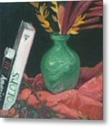 Two Books With Green Vase Metal Print