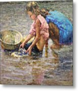 Two By The Riverside Metal Print