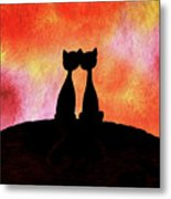 Two Cats And Sunset Silhouette Metal Print