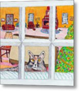 Two Cats In The Window Metal Print