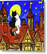 Two Cats On The Roof Metal Print