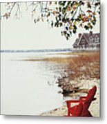 Two Chairs By The Lake's Edge In Autumn Metal Print
