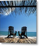 Two Chairs On Deck By Ocean Shaded By Metal Print