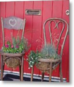Two Chairs With Plants Metal Print