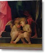 Two Cherubs Reading Detail From Madonna And Child With Saints Metal Print
