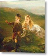 Two Children Fishing In Scotland   Metal Print