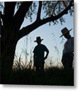 Two Children In Cowboy Hats Metal Print