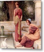 Two Classical Maidens And A Swan Metal Print