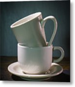 Two Coffee Cups On Saucer Metal Print