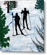 Two Cross Country Skiers In Snow Squall Metal Print