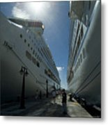 Two Cruise Ships On Either Side Metal Print