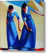 Two Dancers With Three Pyramids Metal Print