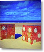 Two Dice On A Beach Metal Print