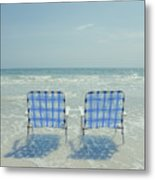 Two Empty Beach Chairs Metal Print