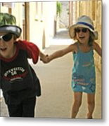 Two Excited Children Metal Print