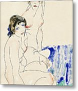 Two Female Nudes By The Water Metal Print