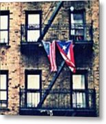 Two Flags In Washington Heights Metal Print