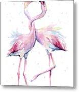Two Flamingos Watercolor Famingo Love Metal Print