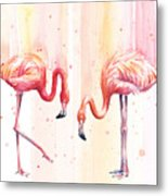 Two Flamingos Watercolor Metal Print