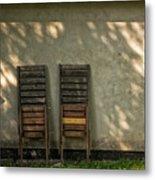 Two Folded Sun Chairs Metal Print