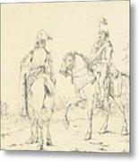 Two French Cavalrymen On Horseback Metal Print