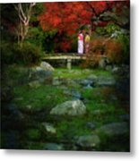 Two Girls In Kimono Standing On A Bridge In Japanese Garden In A Metal Print