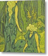 Two Girls Next To The Head Of Orpheus Metal Print