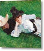 Two Girls On A Lawn Metal Print