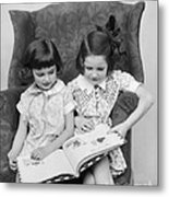 Two Girls Reading A Book, C.1920-30s Metal Print