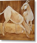 Two Goats In Sepia Metal Print