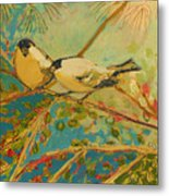 Two Goldfinch Found Metal Print by Jennifer Lommers