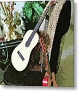 Two Guitars On A Shoe Chair Metal Print