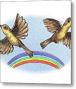 Two Happy Birds Metal Print