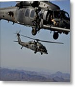 Two Hh-60 Pave Hawk Helicopters Prepare Metal Print