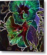 Two Hibiscus Glowing Edges Abstract Metal Print
