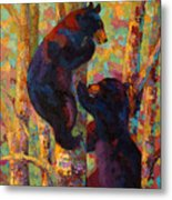 Two High - Black Bear Cubs Metal Print