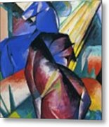 Two Horses Red And Blue 1912 Metal Print
